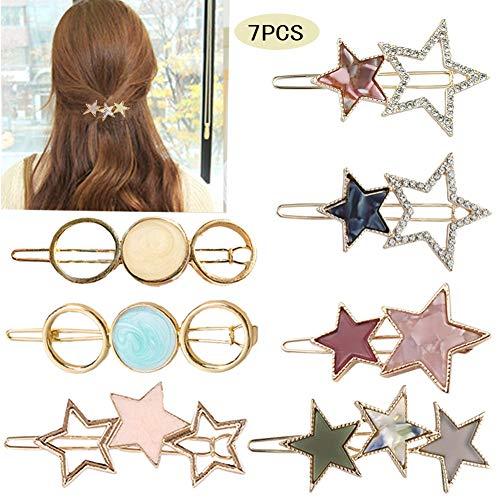 (7 Pcs Acrylic Resin Hair Barrettes Hollow Round Star Alloy Hair Clips Geometric Hair Pins Fashion Hair Accessories for Women and Girls)