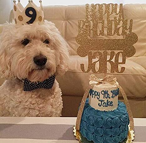 JeVenis Glitter Dog Birthday Cake Topper Bone Decoration Puppy Cupcake Toppers For Pet Party Supplies Amazoncouk Kitchen Home