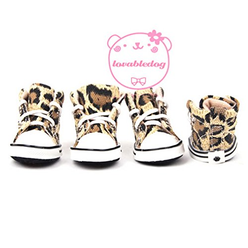 SELMAI Lace up Leopard Pet Puppy Canvas Sports Shoes Sneakers Boots Anti Slip Sole Paw Protector Summer XS,for Small Dog Cat