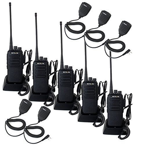 Retevis RT1 10W Two Way Radios UHF 70CM 400-520 MHz 16CH VOX Scrambler Ham radio and Speaker Mic (5 Pack)