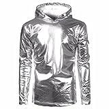 BCDshop Men Hip Hop Pollover Hoodie Hipster Top Shirt Sweatshirts Jacket Bright Color (Sliver, TagsizeS(US Size XS))
