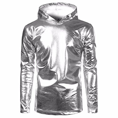 BCDshop Men Hip Hop Pollover Hoodie Hipster Top Shirt Sweatshirts Jacket Bright Color (Sliver, TagsizeXL(US Size L)) L/s Shirt Jacket