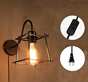 Kiven Plug In Industrial Edison Cage Antique Style Wall Sconce Lamp Light