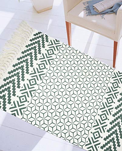(Christmas Green Morocoo Woven Cotton Rug with Tassel Cotton Indoor Area Rugs Door Mat Sofa Throw Rugs with Non-Slip Pads for Bathroom,Bedroom,Living Room,Laundry Room 24