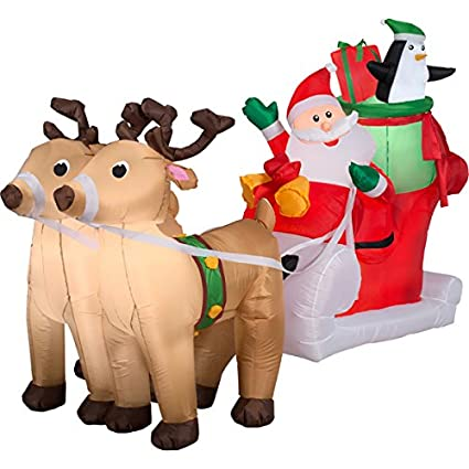 CHRISTMAS SANTA REINDEER STABLE 8 DEER 11 FT LONG AIRBLOWN INFLATABLE YARD