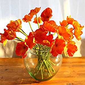 10 PCS High Quaulity Fresh Artificial Mini Real Touch PU/ latex Corn Poppies Decorative Silk fake artificial poppy flowers for Wedding holiday Bridal Bouquet Home Party Decor bridesmaid (Orange) 14