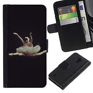 UberTech / Samsung Galaxy S4 IV I9500 / Ballerina Dance Ballet Dancer Black Woman / Cuero PU Delgado caso Billetera cubierta Shell Armor Funda Case Cover Wallet Credit Card