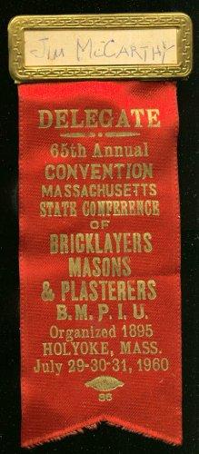 Massachusetts Bricklayers Convention Delegate pin 1960 (Delegate Pin)