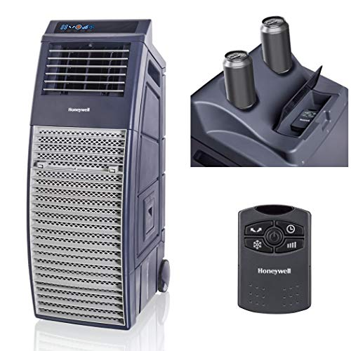 - Honeywell 830-1000 CFM Remote Control Outdoor Portable Evaporative Cooler, Gray