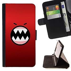 For Sony Xperia Z1 L39 Case , Angry dibujos animados Cara Dientes Carácter- la tarjeta de Crédito Slots PU Funda de cuero Monedero caso cubierta de piel