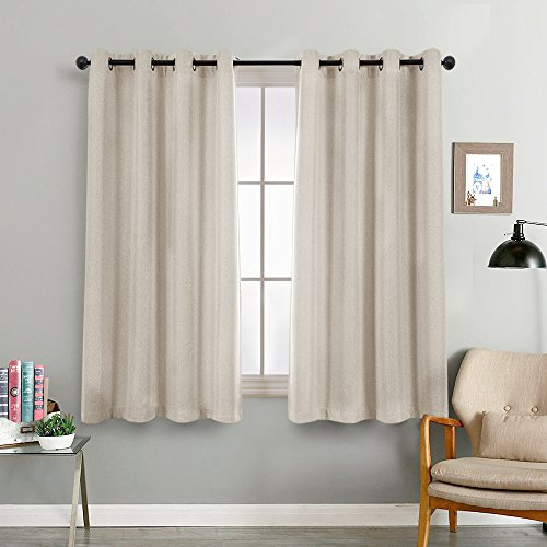 Linen Textured Greyish Beige 63 inches Curtains Bedroom Thermal Insulated Window Panels Room Darkening Curtains Blackout Living Room 2 Curtain Panels