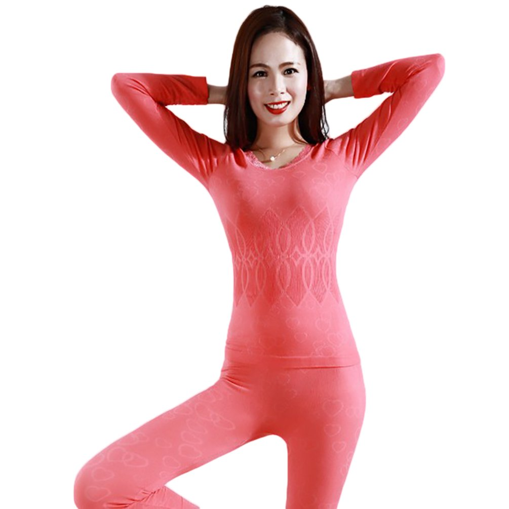 Baymate Women Stretch Seamless Top and Bottom Thermal Underwear Set