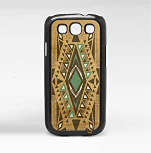 Teal and Black Aztec Tribal Pattern on Wood Background Hard Snap on Phone Case (Galaxy s3 III)