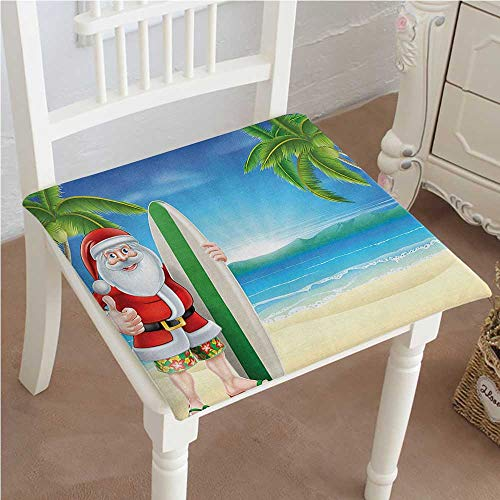 (Mikihome Classic Decorative Chair pad Seat Santa Claus with Trunks on Beach Surfboard Humor Sunny Hot Christmas Theme Decor Cushion with Memory Filling 20