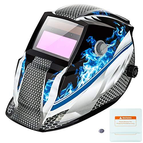 Z ZTDM Welding Helmet Solar Auto Darkening,Adjustable Shade Range DIN 9-13/Rest DIN 4,Welder Protective Gear ARC MIG TIG,gift 2pcs Extra Lens+CR2032 Battery,CE EN379 ANSI Z87.1 (Blue Racer)