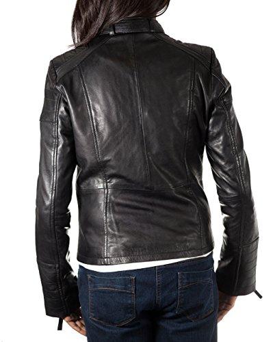 Mujeres Negro real suave napa motorista del cuero de la chaqueta. Equipada delgada. De moda y elegante.