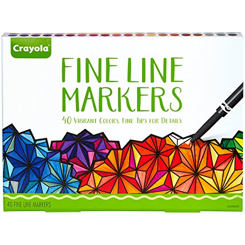 Marker Book - Crayola Fine Line Markers, Assorted Colors, Adult Coloring, 40 Count, Gift