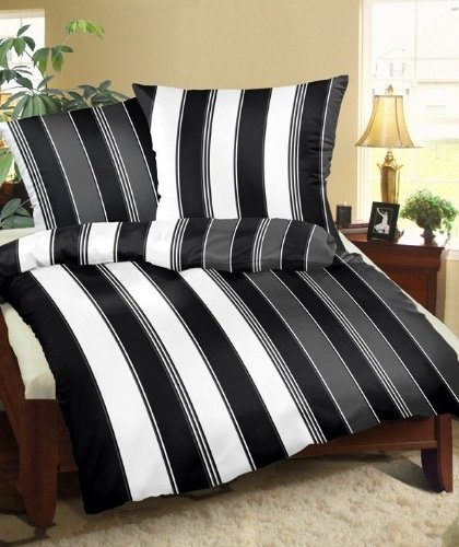 Genieße den Schlaf 4260216519901 Bettwäsche Set, 135 x 200 cm, Mako Satin aus 100% Baumwolle, schwarz / weiß / grau gestreift