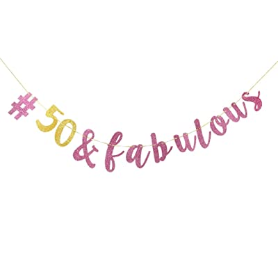 INNORU 50 Fabulous Banner Pink And Gold 50th Birthday Party Decorations Adult