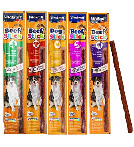 *NEW* CASE OF 50 MIXED VARIETY VITAKRAFT DOG BEEF STICKS 5 FLAVOURS SOFT MEATY DOG TREAT STICKS