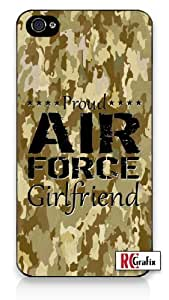iphone covers Proud Air Force Girlfriend Digital Camo Tan Military Camouflage iPhone 5c Quality Hard Snap On Case for Iphone 5c 4G - AT&T Sprint Verizon - White Case Cover