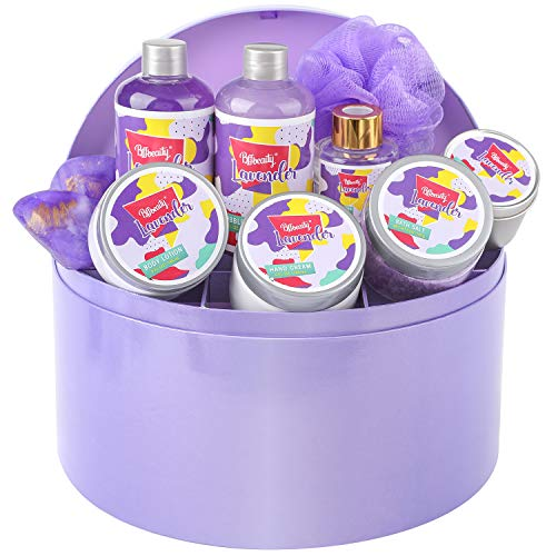 Spa Gift Set for Women, 10pcs Delicate Lavender Bath Box, Perfect Spa Gift Basket Bath Kit on Mother's Day, Birthday…