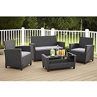 Cosco Malmo 4 Piece Outdoor Resin Wicker Conversation Set