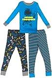 Masked Brand Kirkland Signature Kids' 3-Piece Pajama Set (Space Mission Commander/Blue Yellow Grey Black, 6)