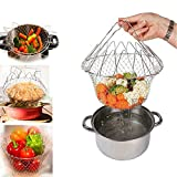 Chef Basket Kitchen Cooking Foldable Steam Rinse Strain Magic Stainless Steel