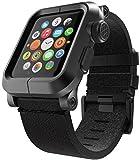 LUNATIK EPIK Aluminum Case and Leather Strap for Apple Watch Series 1, Black/Black