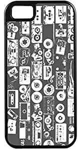 iPhone 4 4S Cases Customized Gifts Cover Musical design casette cd and tape designed in black and white backdrop