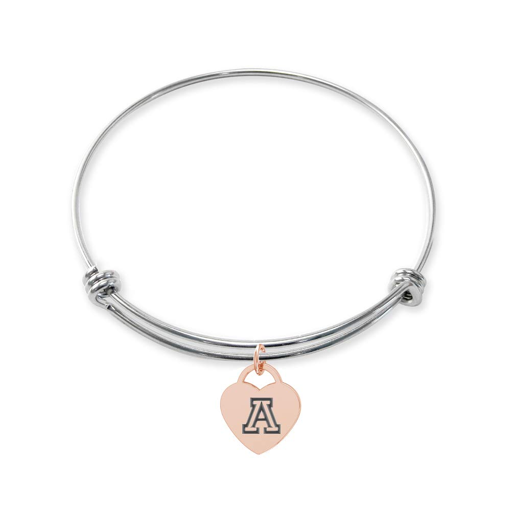 College Jewelry Arizona Wildcats Stainless Steel Adjustable Bangle Bracelet with Rose Gold Plated Heart Charm