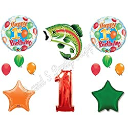 """""""THE BIG ONE"""" Fishing 1st Birthday Party Balloons Decoration Supplies First Camp"""