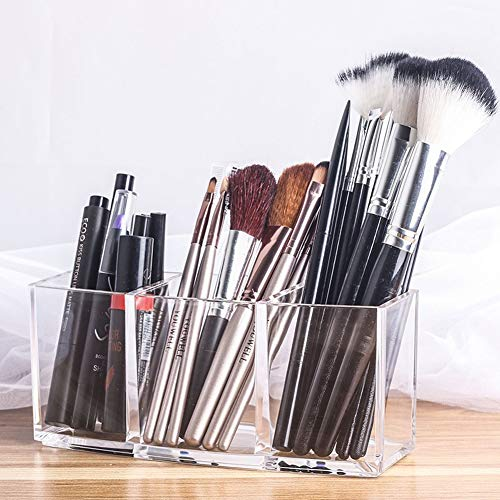 Sooyee Clear Acrylic Makeup Brush Organizer Eyeliners Display Holder Cosmetic Storage with 3 Slots