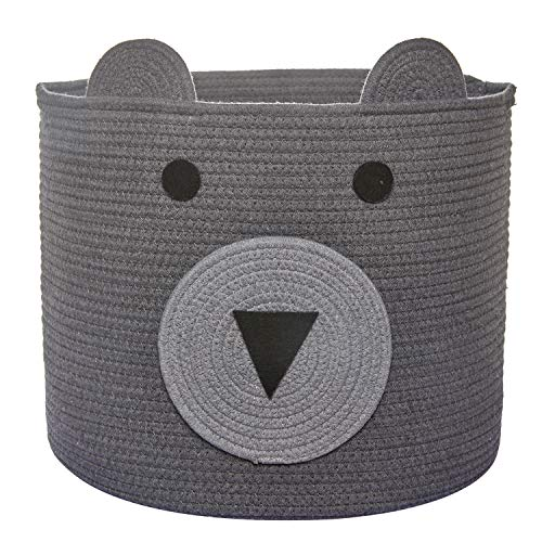 COMEMORY Cotton Rope Storage Basket with Cute Bear Design, Foldable Rope Bin Basket, Decorative Animal Basket for Toys…