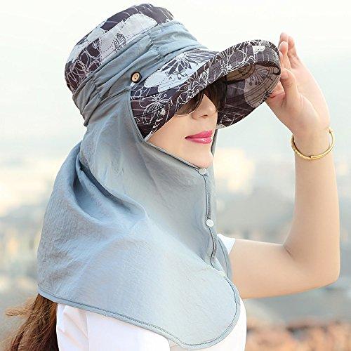 En Hat nbsp;hat El Sombrero Gris La Tide Playa azul Sol Ocio Marino Rostro Todos Protector Mszyz Uv Solar Cubre Viajes Femenino Ajustable De Para match 6Awnd4T