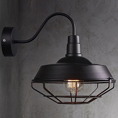 BAYCHEER HL416364 Industrial Retro style Cage Large Wall Sconce Wall Lamp Loft Metal Fixture for Restaurant Bar Warehouse Black Large Wall Fixture