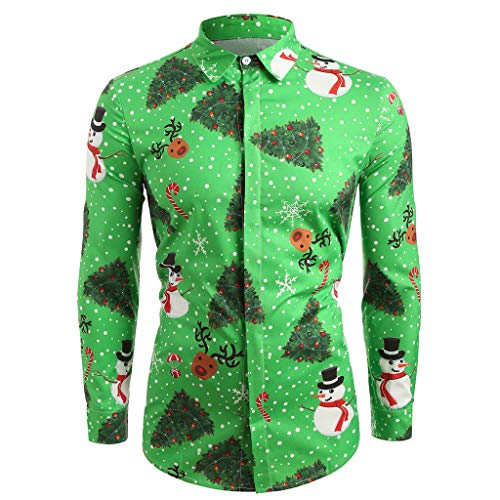 Bravetoshop Men's Ugly Christmas Shirt Party Holiday Button Down Shirt Printing Slim Fit Long Sleeve Dress Shirt(Green,XXL)