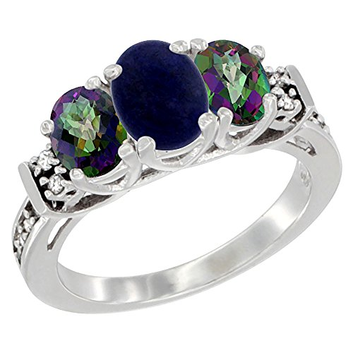 10K White Gold Natural Lapis & Mystic Topaz Ring 3-Stone Oval Diamond Accent, size 8 by Silver City Jewelry