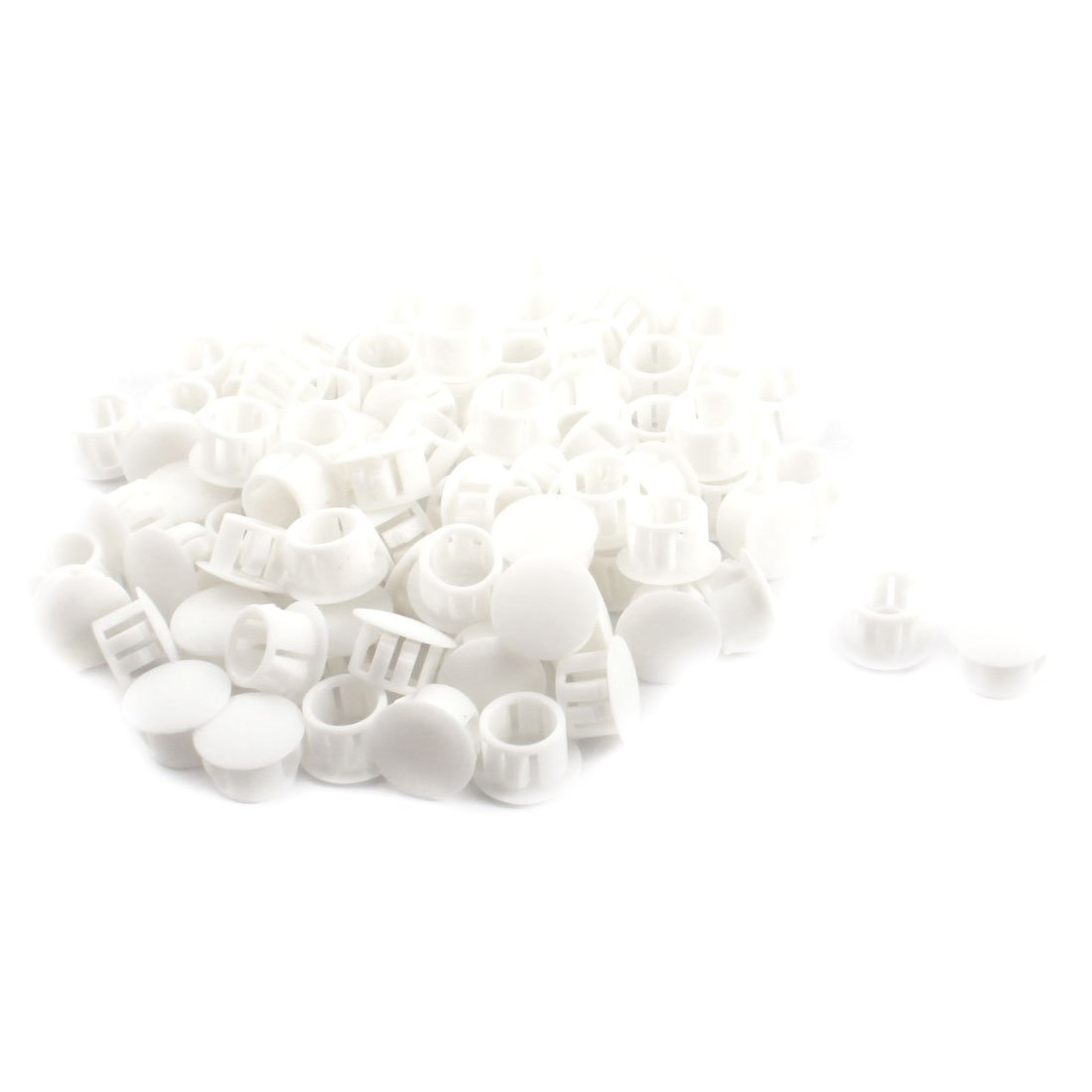 uxcell SKT-13 12.7mm Dia Round Insulated White Plastic Snap in Mount Lock Hole Cover Harness Fastener 100Pcs