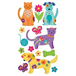 Jolee's Boutique Dimensional Sticker, Colorful Dogs and Cats