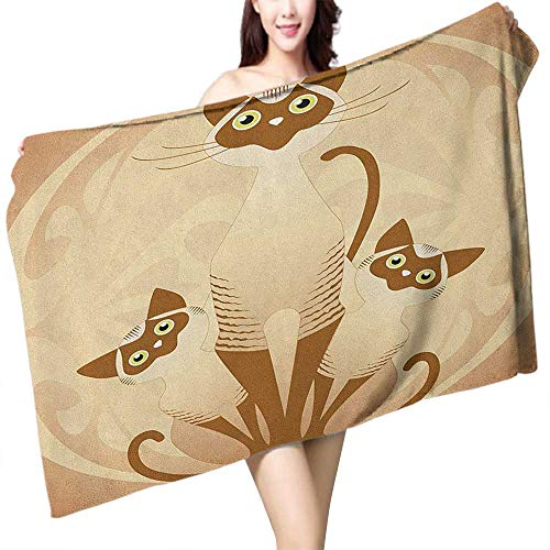 homecoco Custom Bath Towel Animal Three Cats Feline Familly Asian Siamese Babies Kittens with Ivy Background W12 xL35 Suitable for bathrooms, Beaches, Parties