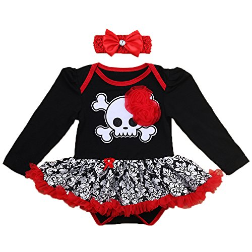 My 1st Halloween Outfit Baby Girls Pirate Skull Tutu Bodysuit Romper Dress with Ruffle Tulle Skirt + Bow Headband First Birthday Cake Smash Party Dress Infant Toddler Clothes 2Pcs Set Red 0-3M]()