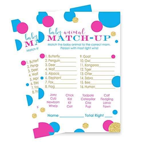 Gender Reveal Party Games - Baby Animal Match Up - Set of 25 Cards - Pink Blue and Gold by Paper Clever Party