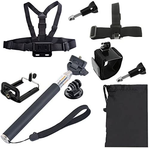 Wrist Belt Chest Belt Head Strap Selfie Monopod Phones Mount Carry Bag Set for GoPro HERO4 //3+ //3//2 //1 // SJ4000 Durable