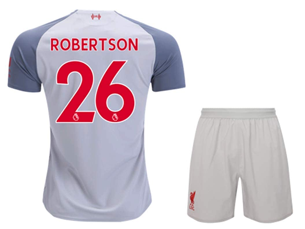 ZXAOYUAN Robertson #26 Mens Third Soccer Jersey /& Short Kit Grey