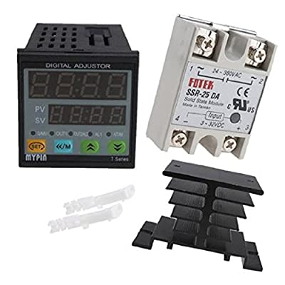 IMAGE® 25A SSR-25DA Solid State Relay with Heat Sink+ Manual/ Auto-tuning PID Temperature Controller SNR