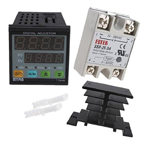 IMAGE® 25A SSR-25DA Solid State Relay with Heat Sink+ Manual/ Auto-tuning PID Temperature Controller SNR ()