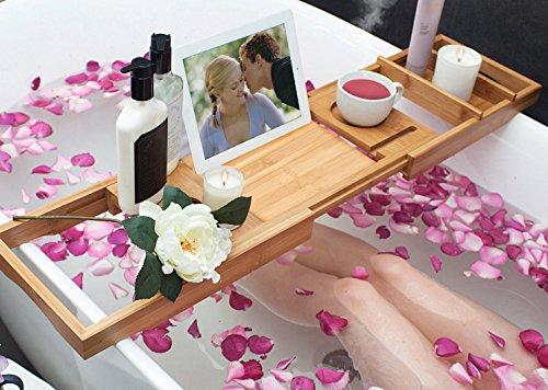 TDYNASTY DESIGN Bathtub Caddy Tray,Bamboo Wood Luxury Bath Rack Shower Organizer Tablet Holder,Cellphone Tray,Wine Glass Slots,Non-Slip Grip Soap Holder by TDYNASTY DESIGN (Image #5)