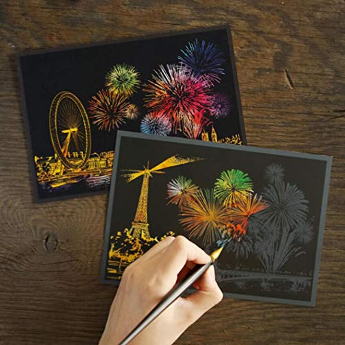 Hot Sale!DEESEE(TM)Colorful Scratch Paper Night View Fireworks DIY Drawing Scraping Paintings Postcard